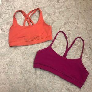 TWO LULULEMON Sports Bras Orange & Pink Size 4
